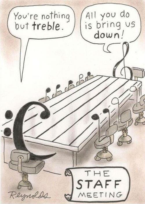 Staff Meeting Cartoon (treble and bass clef)