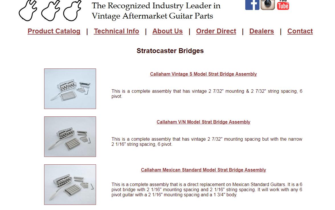 Callaham Stratocaster Bridge Upgrades