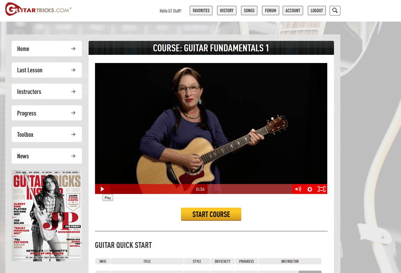 Guitar Tricks Guitar Fundemantals Course I Screenshot