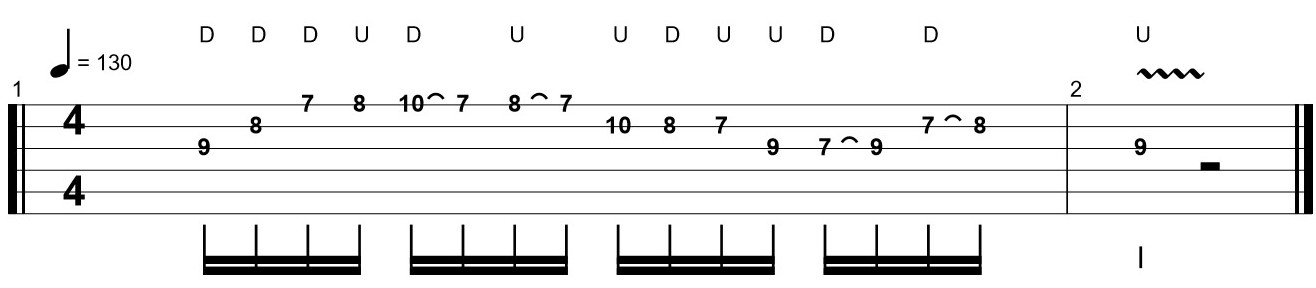 Example of a Difficult Section of a Guitar Tab