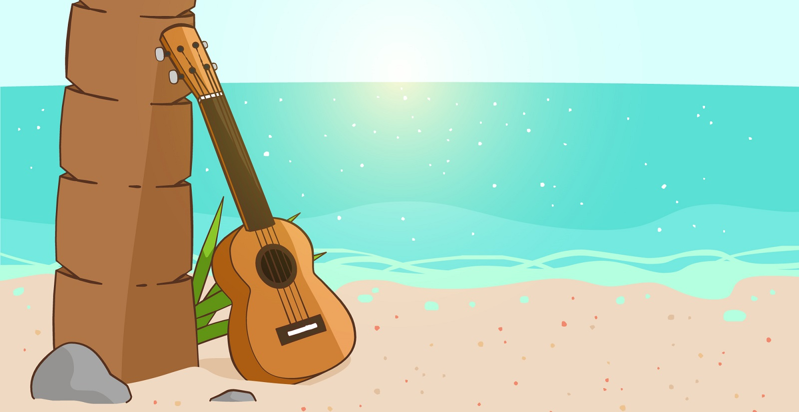 Acoustic Guitar with Beach Background