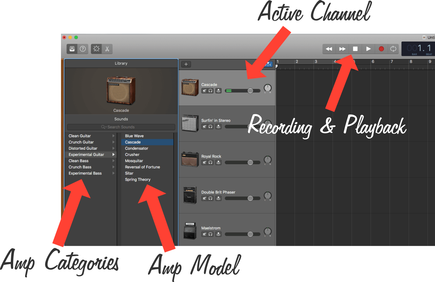 Amp Modeling Section in GarageBand with Labels