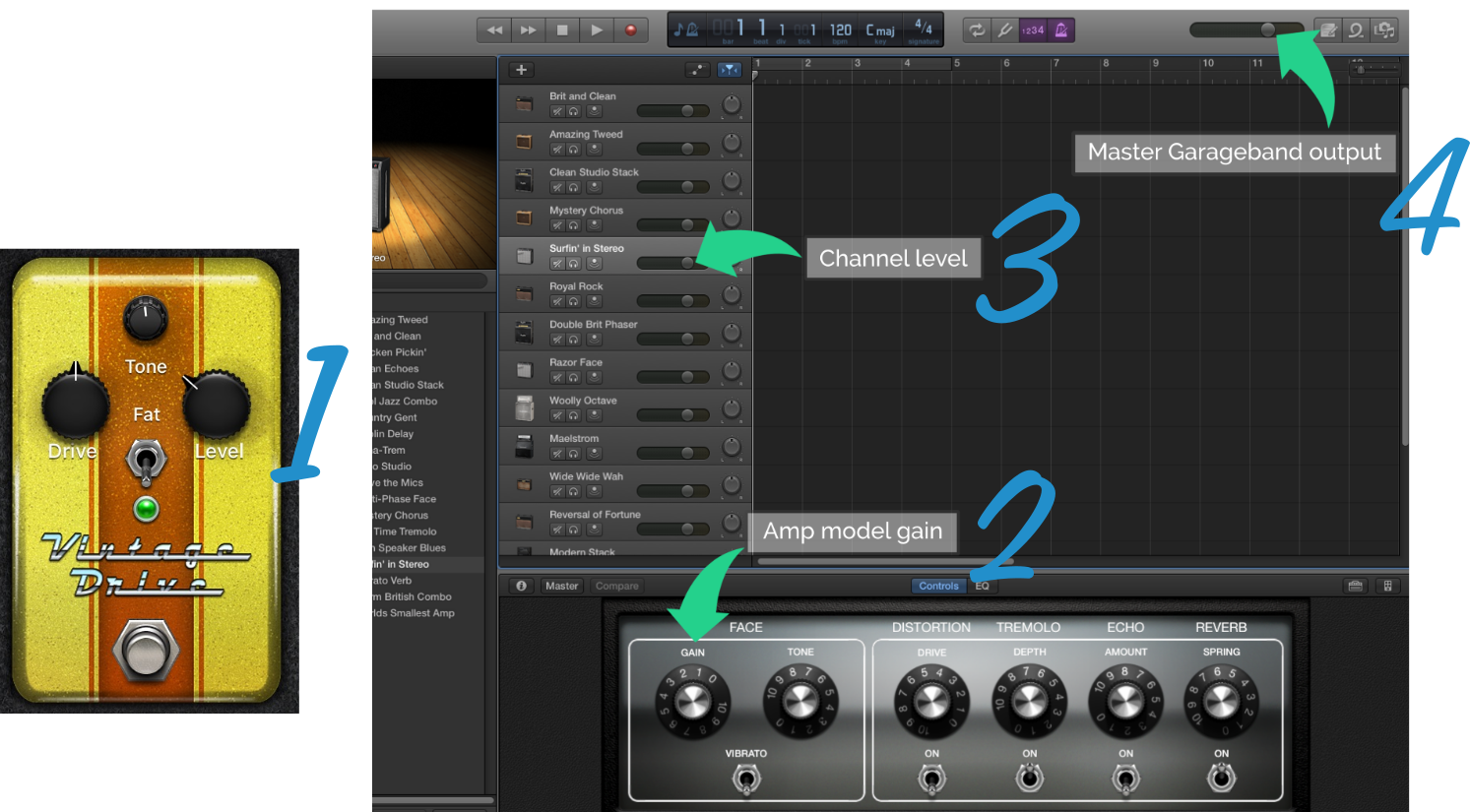 Gain and Volume Arrangement with Pedal in GarageBand